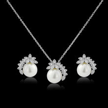 Load image into Gallery viewer, Chic Pearl Silver Wedding Necklace & Earrings Set