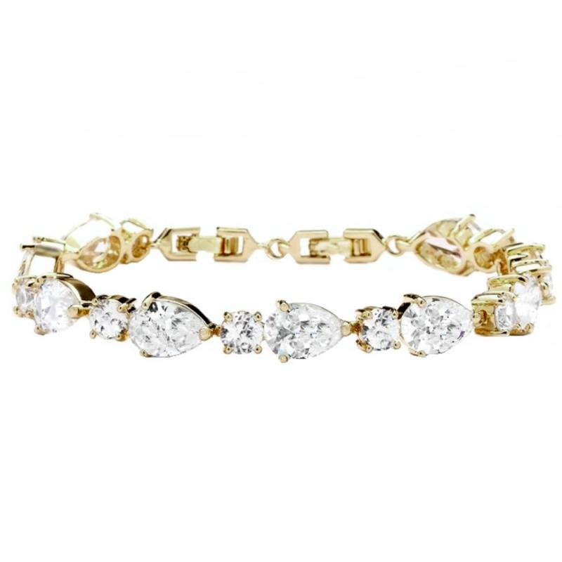 Classic Crystal Bridal Bracelet In Gold