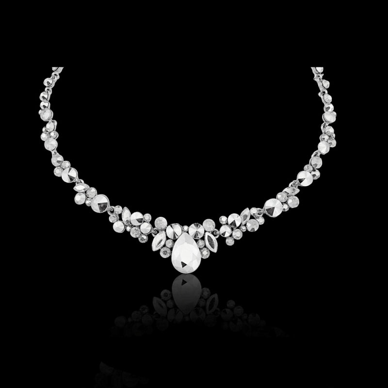 Crystal Enchantment Silver Necklace & Earrings Set