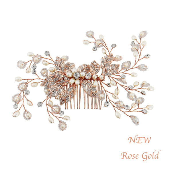 Crystal Extravagance Rose Gold Wedding Hair Comb
