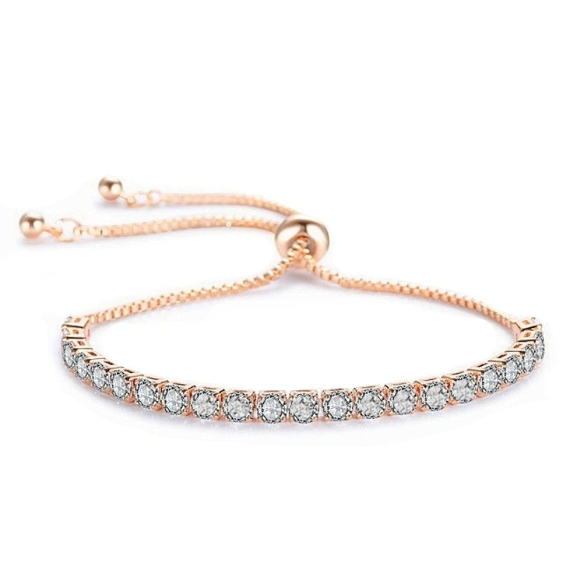 Crystal Sparkle Rose Gold Wedding Bracelet