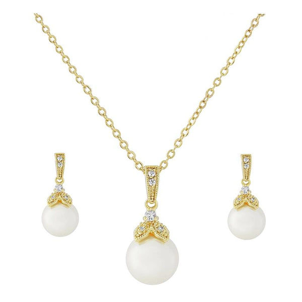 Precious Pearl Necklace & Earrings Set  In Gold