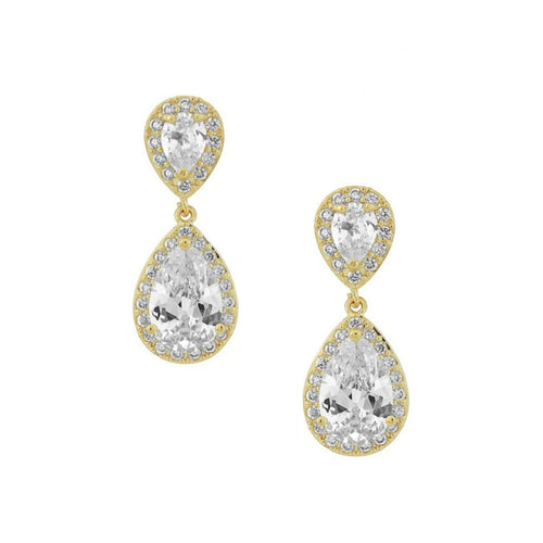 Chic Crystal Gold Wedding Earrings