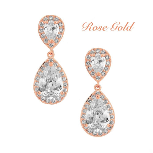 Chic Crystal Rose Gold Wedding Earrings