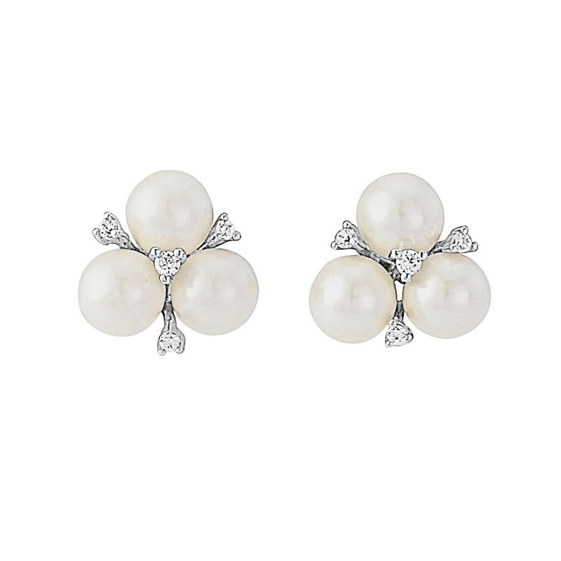 Chic Trio Pearl Bridal Earrings