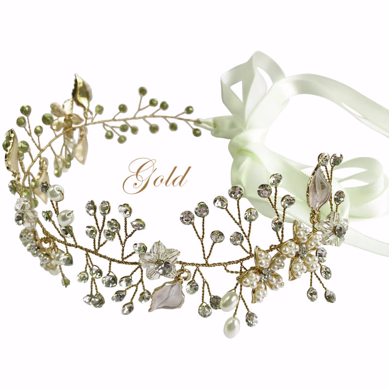 Cordelia Floral Leaf Gold Hair Vine