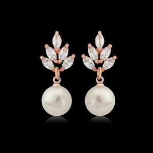 Crystal Gem & Pearl Bridal Earrings In Rose Gold