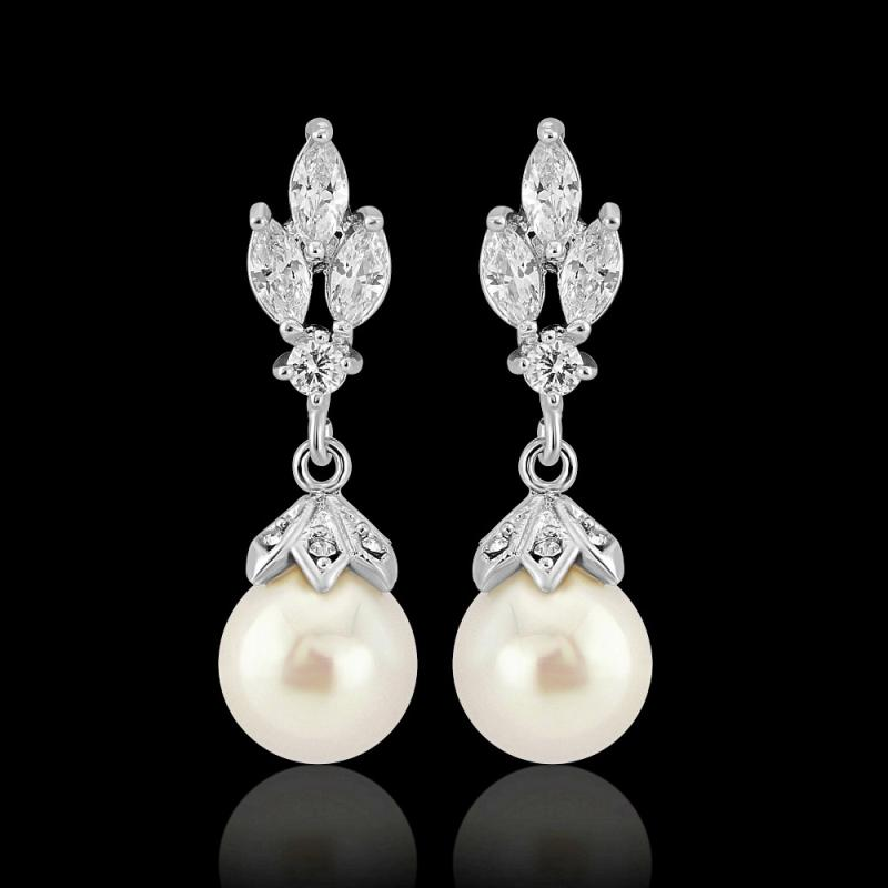 Crystal Gem & Pearl Bridal Earrings