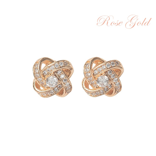 Crystal Knot Rose Gold Earrings