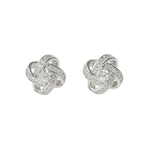 Crystal Knot Silver Earrings