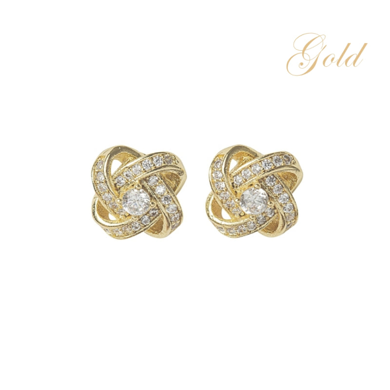 Crystal Knot Gold Earrings
