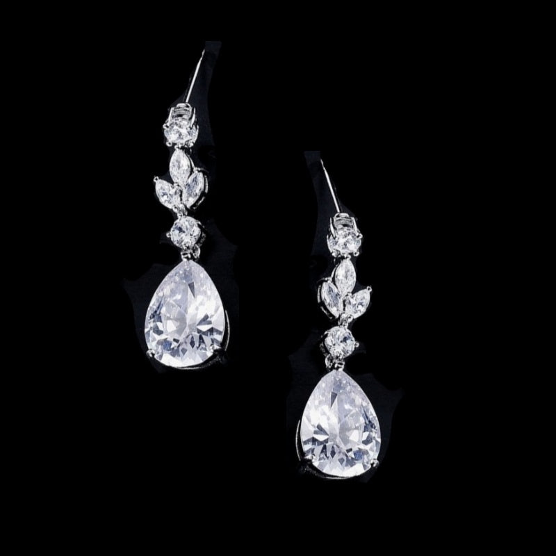 Crystal Sparkle Silver Wedding Earrings