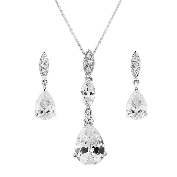 Cubic Zirconia Bridal Necklace & Earrings Set