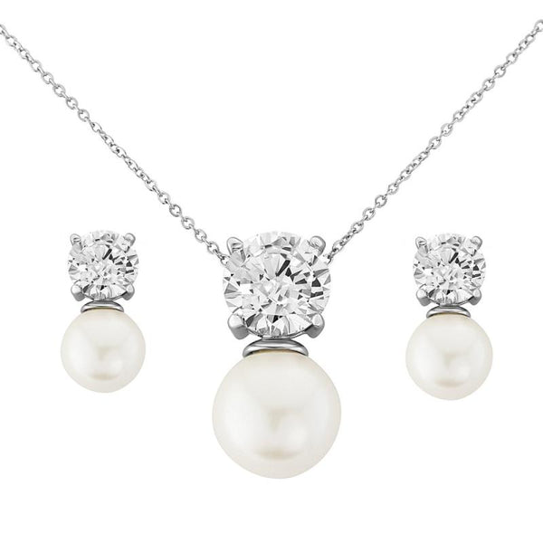 Elegance Pearl Necklace & Earrings Set