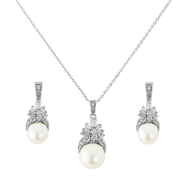 Regal Crystal & Pearl Necklace & Earrings Set