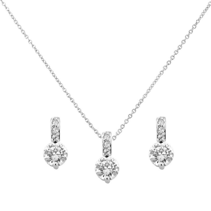 Classic Crystal Necklace & Earrings Set