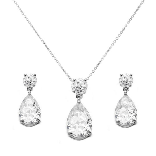 Dainty Crystal Gem Silver Wedding Necklace & Earrings Set