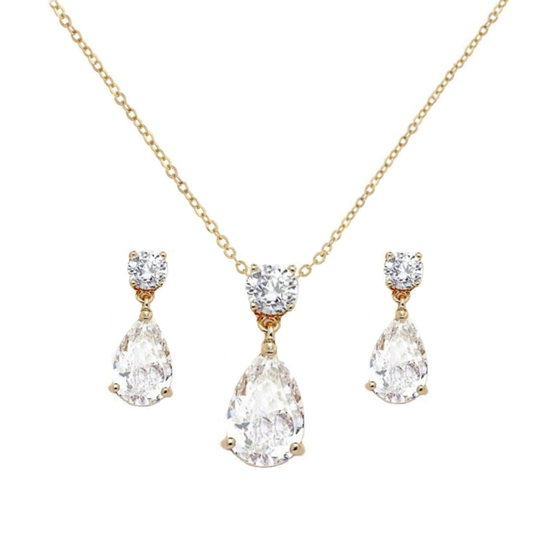 Dainty Crystal Gem Gold Necklace & Earring Set