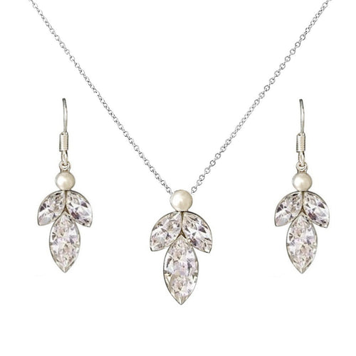 Dainty Drop Silver Necklace & Earrings Set