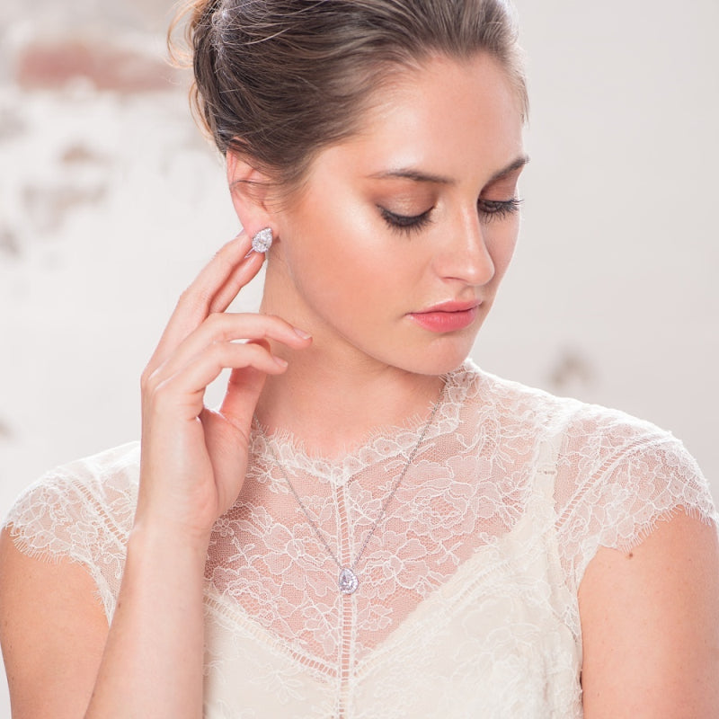 Dainty Gem Rose Gold Wedding Necklace & Earrings Set