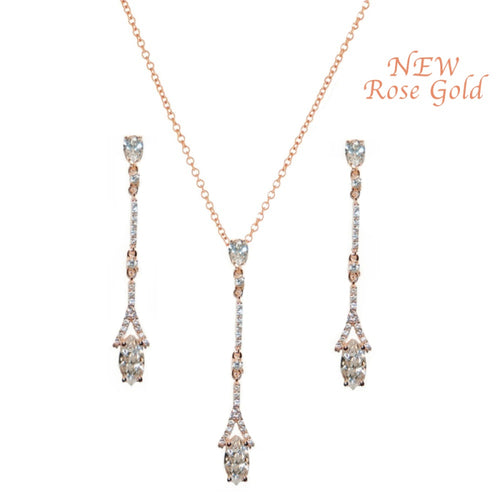 Dainty Crystal Rose Gold Necklace & Earrings Set
