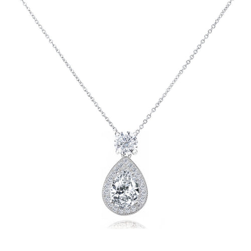 Dazzling Crystal Drop Silver Wedding Necklace