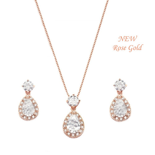 Dazzling Crystal Drop Rose Gold Necklace & Earrings Set