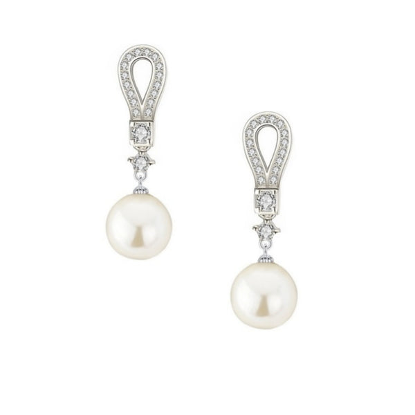 Deco Divine Pearl Silver Necklace & Earrings Set
