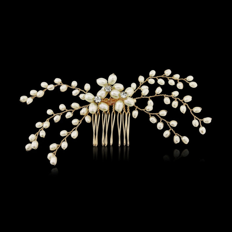 Delicate Pearl Gold Wedding Hair Comb