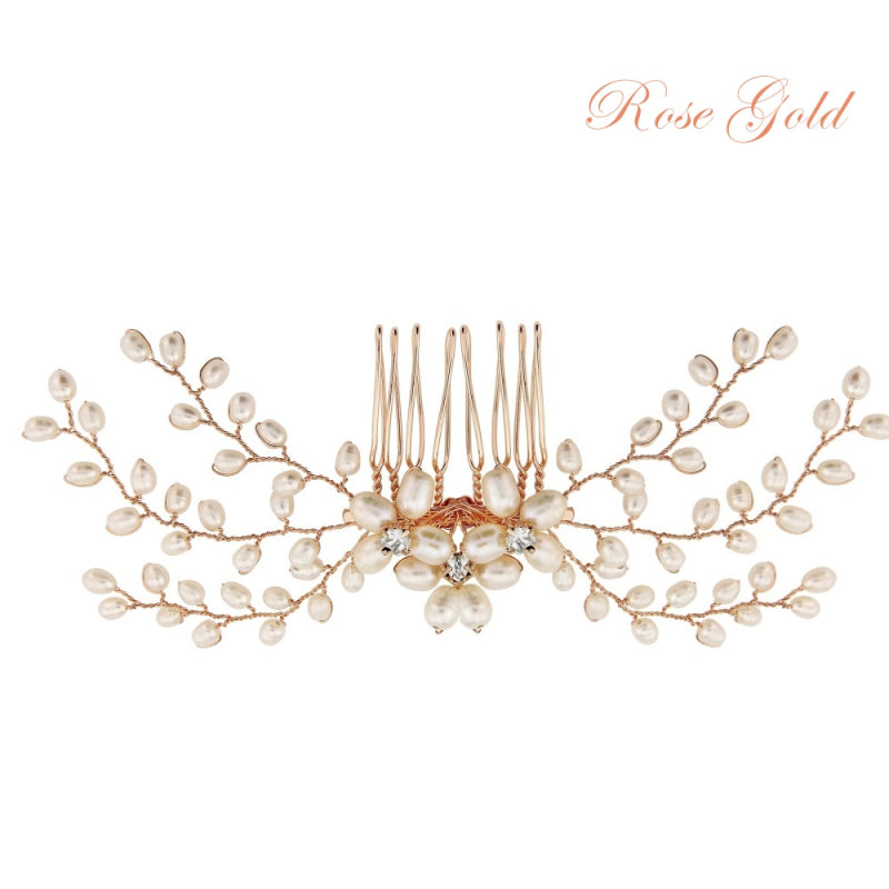 Delicate Pearl Rose Gold Wedding Hair Comb