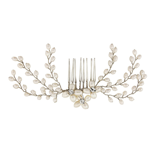 Delicate Pearl Silver Wedding Hair Comb