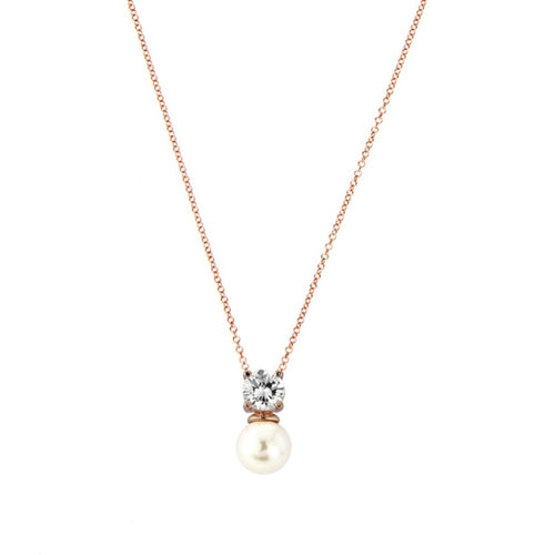 Delicate Pearl Rose Gold Wedding Necklace