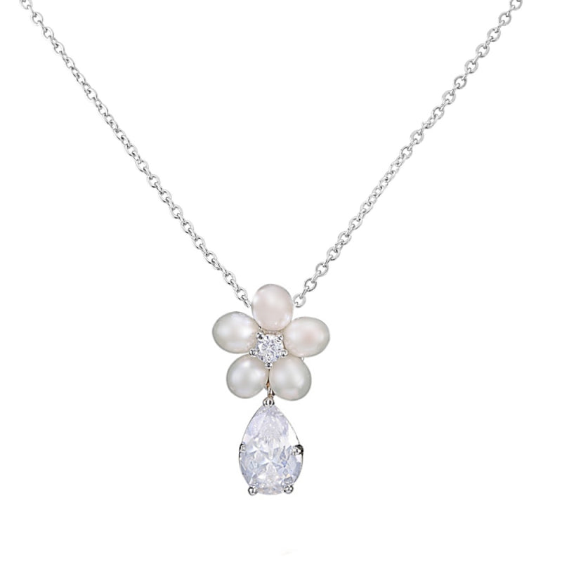 Dainty Floral Pearl Silver Wedding Necklace