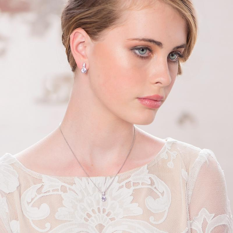 Delicate Crystal Shimmer Bridal Necklace & Earrings Set