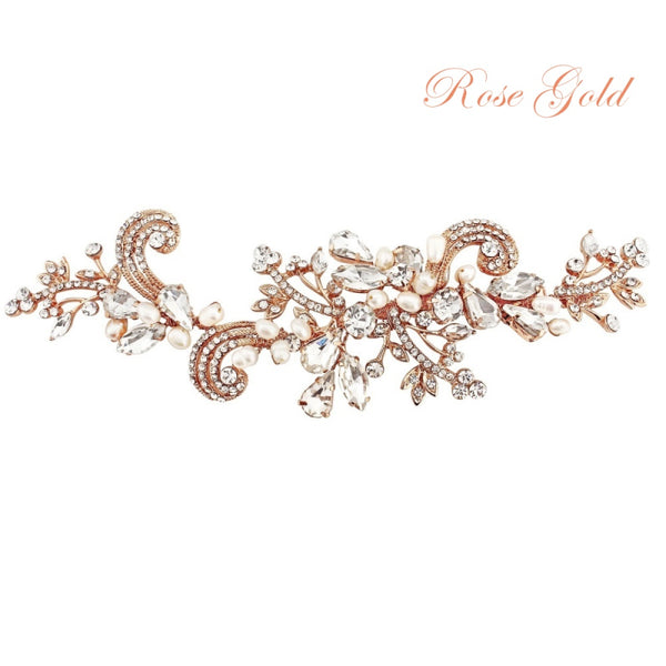 Elise Vintage Inspired Pearl & Crystal Rose Gold Wedding Headpiece