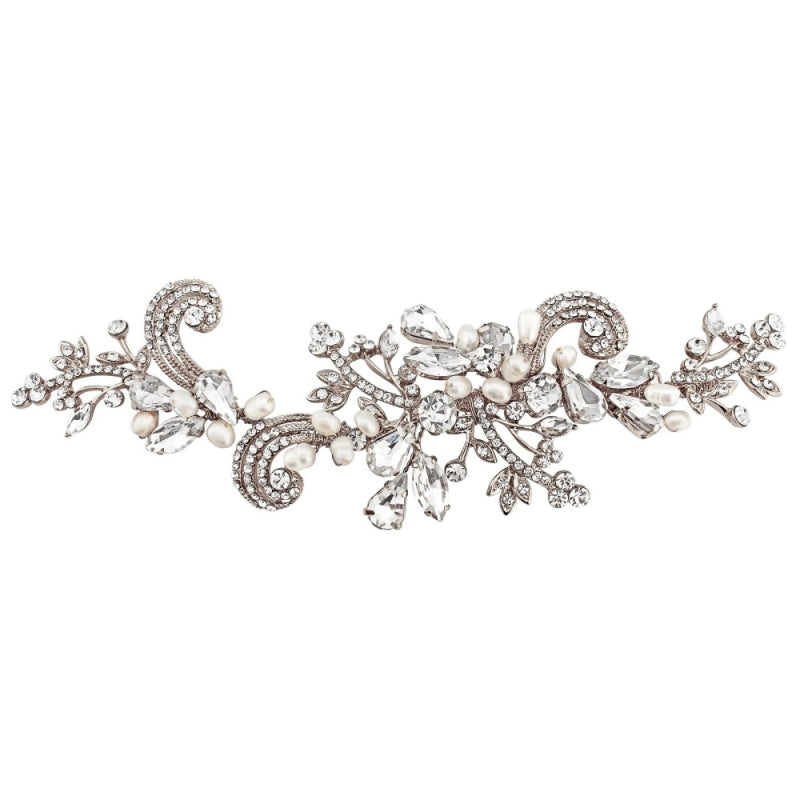 Elise Vintage Inspired Pearl & Crystal Silver Wedding Headpiece