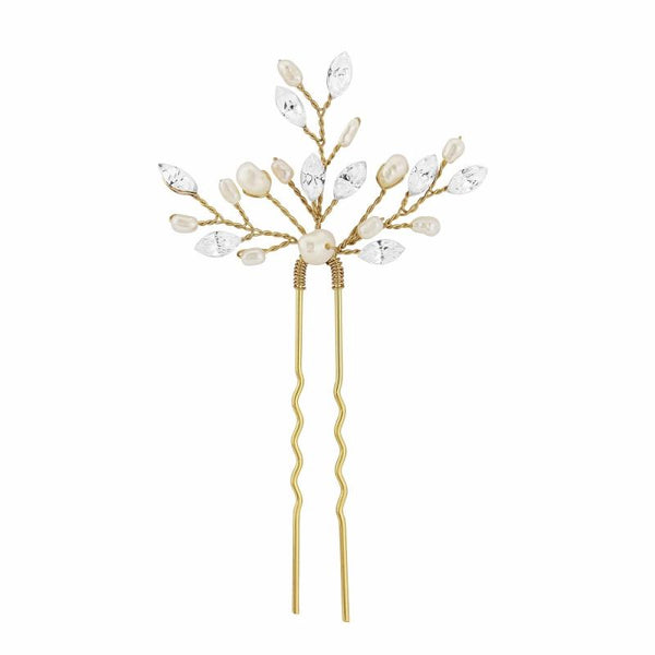 Elodie Crystal & Pearl Gold Hair Pin Sass B Collection