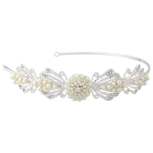 Estelle Chic Bridal Headband In Silver