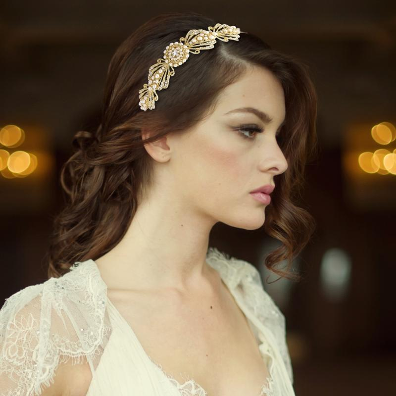 Estelle Chic Bridal Headband In Gold