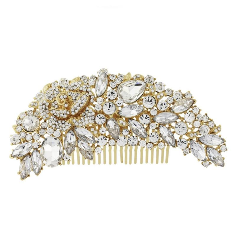 Exquisite Bridal Hair Comb In Gold