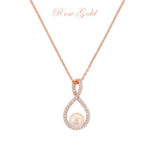 Exquisite Infinity Rose Gold Wedding Necklace
