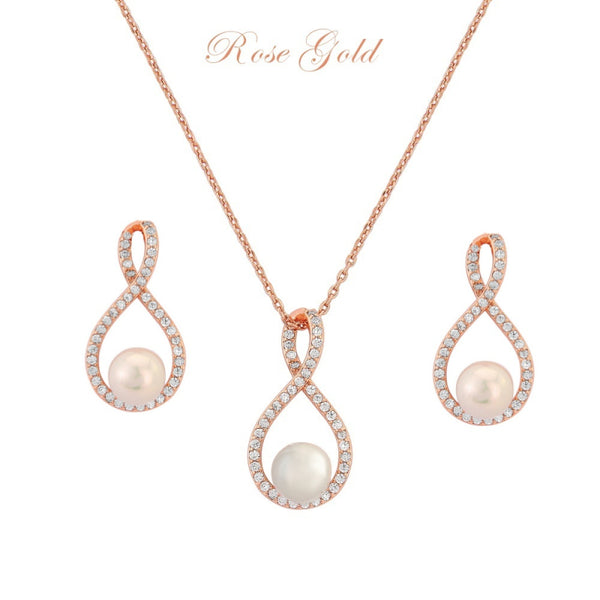 Exquisite Infinity Rose Gold Necklace & Earrings Set