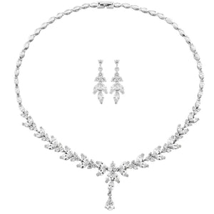 Exquisite Sparkle Silver Wedding Necklace & Earrings Set