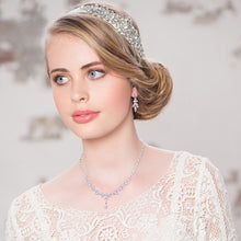 Load image into Gallery viewer, Exquisite Sparkle Silver Wedding Necklace & Earrings Set