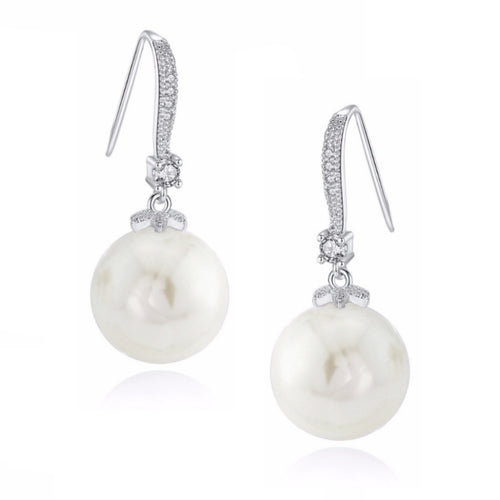 Ella Classic Pearl Drop Silver Earrings