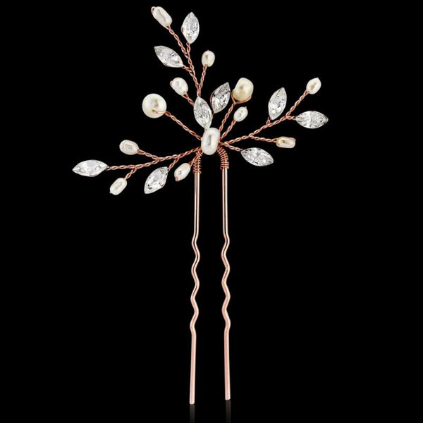 Elodie Crystal Pearl Rose Gold Hair Pin