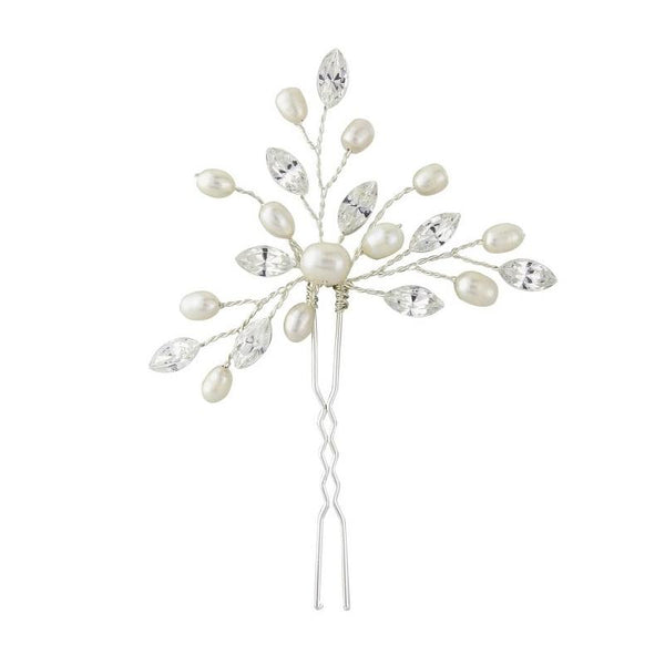 Elodie Crystal & Pearl Silver Hair Pin Sass B Collection