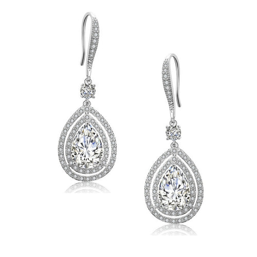 Emilia Crystal Drop Silver Earrings