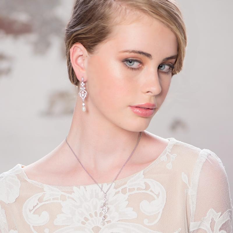 Enchanting Pearl Drop Silver Wedding Earrings