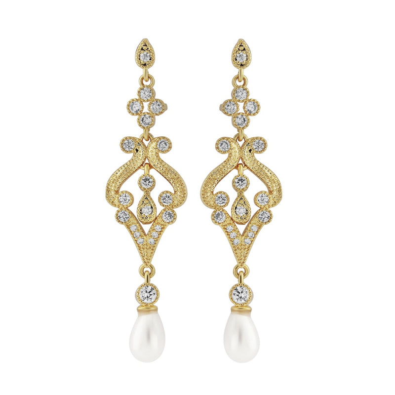 Enchanting Pearl Drop Gold Wedding Earrings